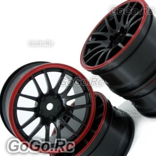 Pcs 1 10 Black Red Car Wheel Rims 14 Spoke 9068