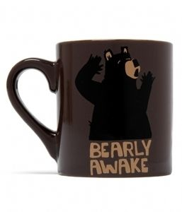 New Hatley Funny Ceramic Bear Coffee Mug Bearly Awake