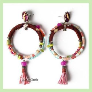 AYALA BAR JEWELRY WOMENS HOOP EARRINGS COLORFUL BEADS, FABRIC WITH