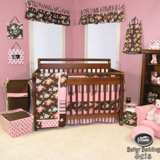 Baby Girl Pink Brown Flower Crib Nursery Infant Blanket Collection
