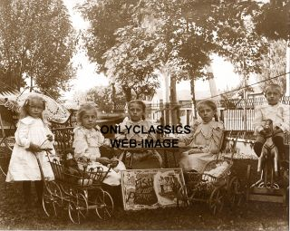VICTORIAN CHILDREN PARTY  TOY BABY DOLL STROLLER   ROCKING HORSE PHOTO