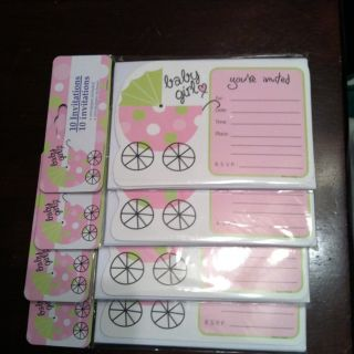 Baby Girl Baby Shower Invitation Cards Carriage NEW Sealed 40 Count