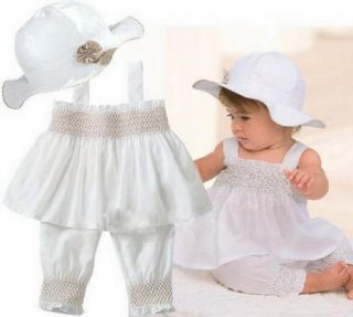 White Christening Girl Baby Clothes Ruffle Top Pant Hat Set Outfit