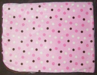 Koala Baby Pink Minky Cream Polka Dot Brown Sherpa Baby Blanket Girls