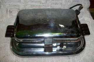 Vintage GENERAL ELECTRIC Waffle Maker Iron Baker CHROME BAKELITE
