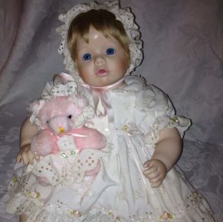 Danbury Mint Baby Girl Doll Teddy Bear Jennifer 1990