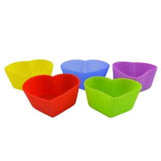 Aqy Silicone Cupcake Baking Cup Muffin Liner Molds 5pcs Set