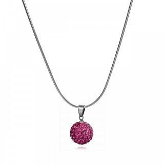 Fashion Jewelry Fuchsia Pave Crystal Ball Pendant Necklace