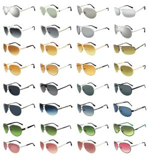 Modeling Men Women Silver Mirror Lens Classic Aviator Metal Sunglasses