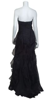 Badgley Mischka Black Strapless Ruffle Tiered Sequins Formal Gown