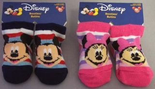 New Wholesale 1Dz Disney Mickey Minnie Mouse Newborn Socks Licensed