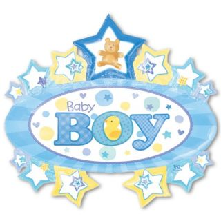 31 Blue Baby Boy Marquee Stars Foil Supershape Balloon