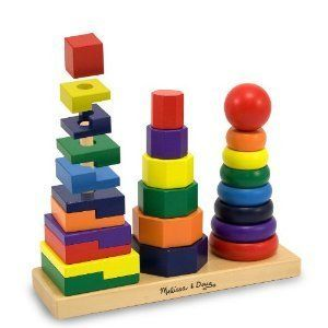 Doug Geometric Stacker Wood Wooden Blocks Baby Toys Kids New
