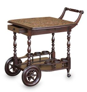 PARADISE Artist Crafted ROLLING BAR CART Wine RACK Wood TOOLED Leather