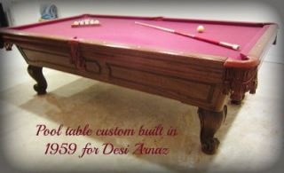 Desi Arnaz Original Custom Pool Table 1950s I Love Lucy Lucille Ball