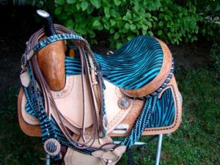 Zebra Show Saddle Western Barrel Racing Trail 4pc HSBP 15 16 17