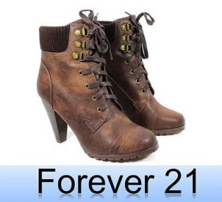 Newly listed FOREVER21 New Lace Up Bootie Warm Faux Fur Women 4 High