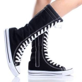 Black Lace Up Boots Canvas Sneakers Flat Skater Punk Womens Skate
