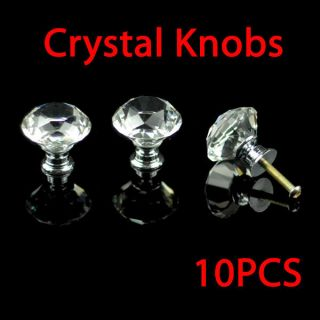10 Pcs 30mm Diamond Shape Crystal Glass Cabinet Knob Cupboard Drawer
