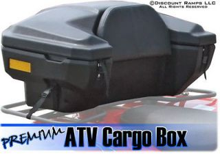 NEW DELUXE ATV REAR CARGO RACK STORAGE BOX PADDED SEAT BACKREST (ATV