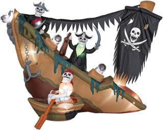 GEMMY AIRBLOWN INFLATABLE ANIMATED SKELETON PIRATES SHIP HALLOWEEN
