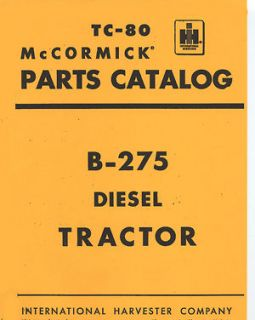 International Harvester B275 Tractor Parts Manual Paper Manual