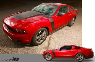 2010 and Up Ford Mustang Boss Style Hood and Side Stripe Graphics Kit