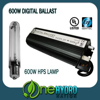 GENTEC 600W Grow Light System Digital Ballast 600 Watt HPS Lamp