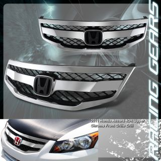 2011 2012 Honda Accord Chrome ABS Plastic Horizontal Mesh Style Front