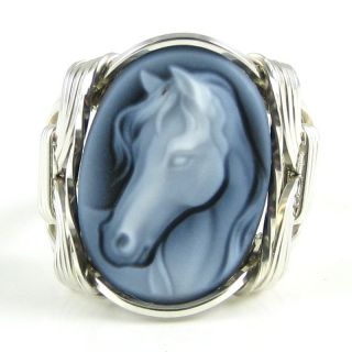 Fine Horse Agate Cameo Ring Sterling Silver Custom Jewelry Wire Art