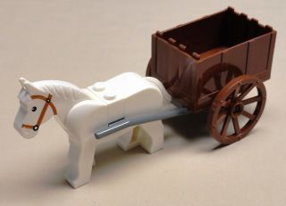 Lego White Horse Animal w/ WAGON & WHEELS Farm Animal Minifig
