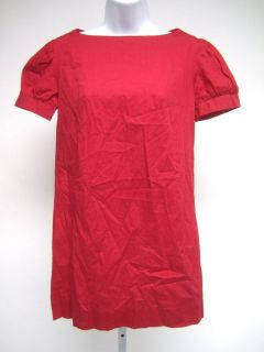 AMANDA UPRICHARD Red Cotton Short Sleeve Crew Neck Tunic Top Shirt