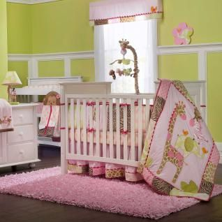 Animal Print Baby Girl Nursery 4p Crib Bedding Set w Giraffe & Zebra