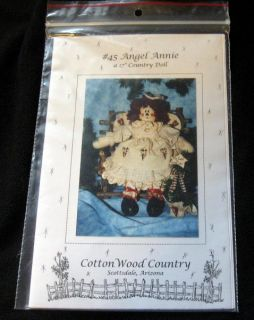 Raggedy Ann Angel Annie 17 Country Rag Doll Pattern Cotton Wood Craft