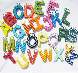 New Cute Sets 26 Letters Alphabet Wooden Fridge Magnet