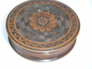 Antique carved Wood Treen Snuff Box Flower Detail Trinket Box