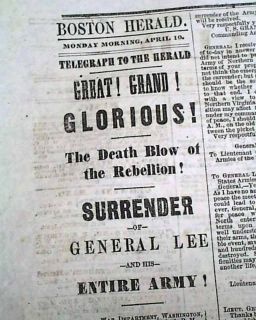 Great 1865 Civil War Newspaper APPOMATTOX COURT HOUSE Robert E. Lee