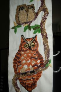 OWL Embroidery Figurine Wall Hanging Art BELL PULL 1970s Orange Brown