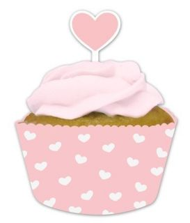Pink Heart Baking Cups Cupcake Wrappers Picks Baby Shower Birthday