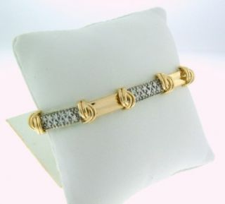 Beautiful Unique Solid 14k Yellow Gold and Diamond Cocktail Bracelet 1
