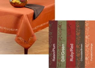 Thanksgiving Fall Tablecloth Cloth Die Cut w Leaves 3 Sizes 5 Colors