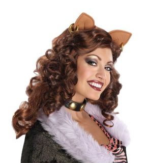 Adult Clawdeen Wolf Monster High Brown Curly Costume Wig with Ears