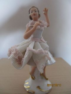Lace Dresden Ballet Dancer Figurine Crown N Mark