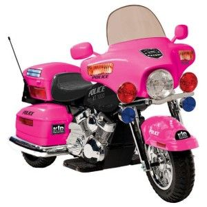 girls police motorcycle battery powered ride on toy in pink