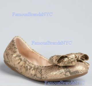 NIB Prada Gold Stamped Python Ballet Flats with Bow Size 37EU Retail $