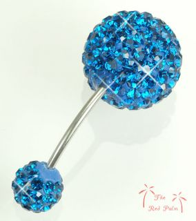 15mm BLUE BALL Navel Belly RING BAR use Bling SWAROVSKI CRYSTAL