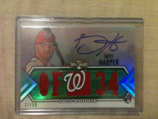 2012 Topps Triple Threads Bryce Harper RC Auto 5X Jersey 22 50