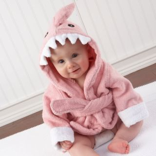 Personalized Let The Fin Begin Pink Shark Bath Robe Baby Shower Gift