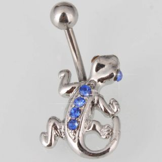Lizard Barbell Blue Rhinestone Navel Belly Ring Body Jewelry