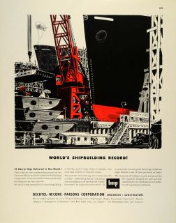 1942 Ad Bechtel McCone Parsons Shipbuilding WWII War Production